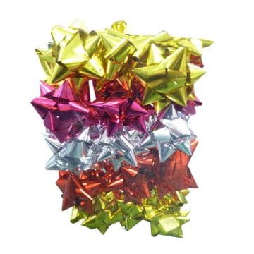 2 PACKS (60 bows) MIXED COLOURS CHRISTMAS PRESENT BOWS birthday decorations